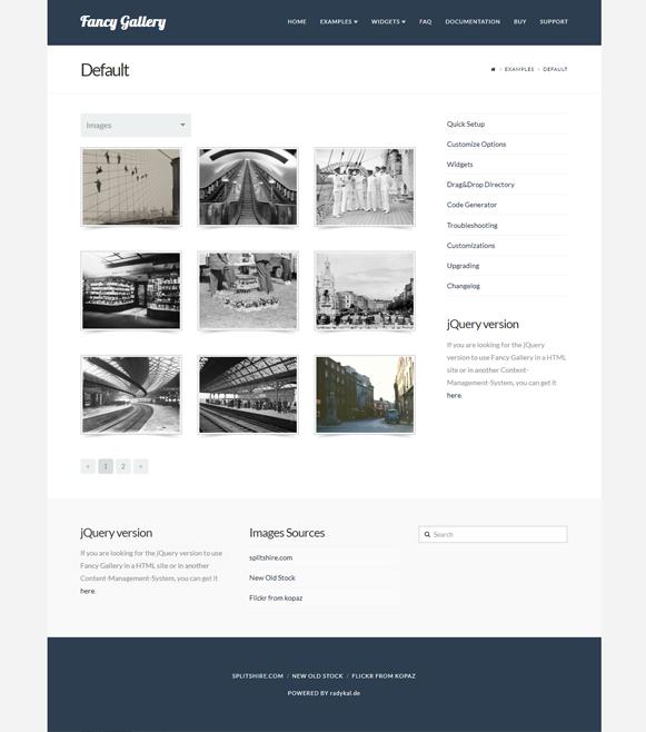 Default Examples - Fancy Gallery WordPress Plugin