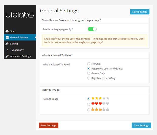 General Setting - Taqyeem Product Review Plugin