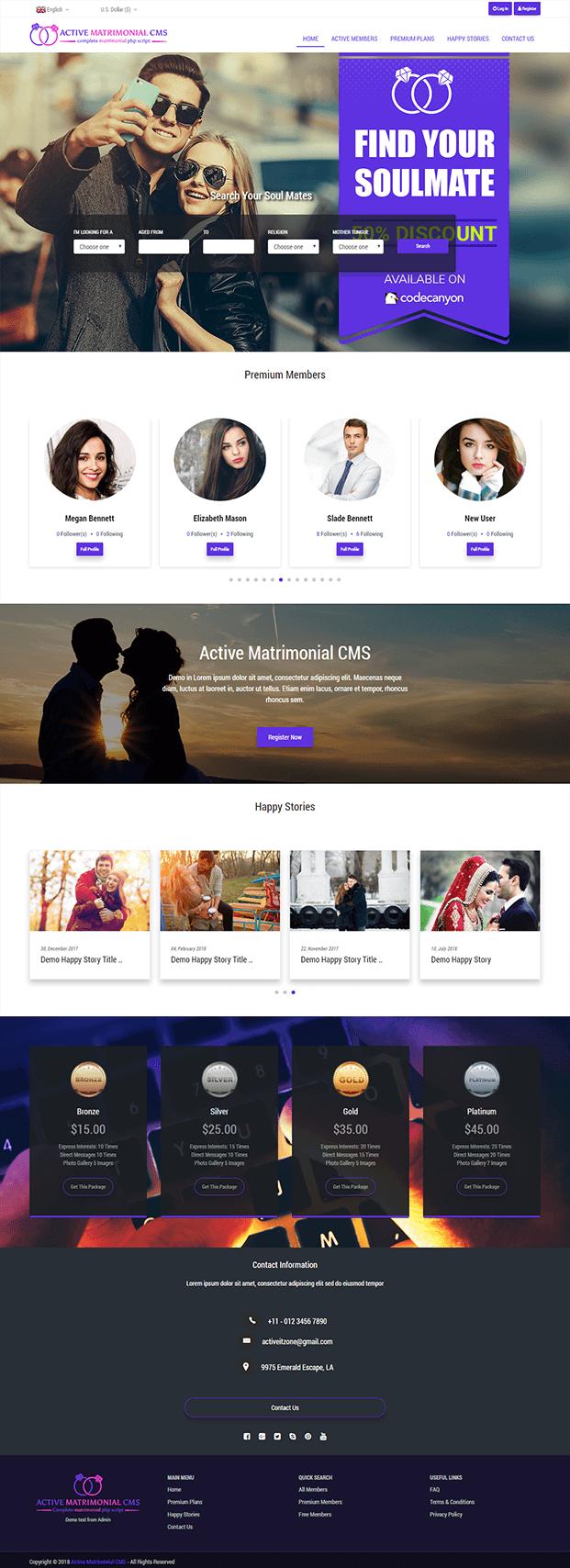 Active Matrimonial CMS PHP Script