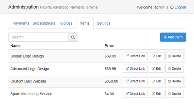 Dashboard- PayPal Advanced Payment Gateway- PHP Script