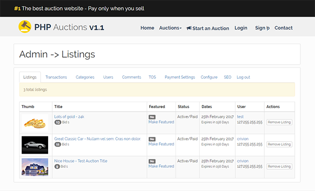 Auction PHP Script