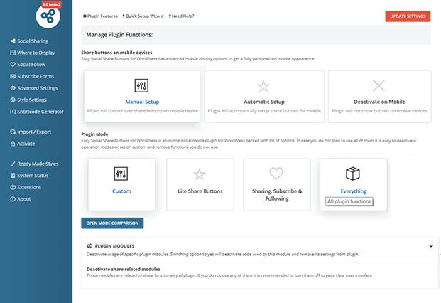 Manage Plugin - Social Share Buttons Plugin