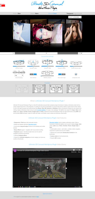 Ultimate 3D Carousel WordPress Plugin - Minimal Classic