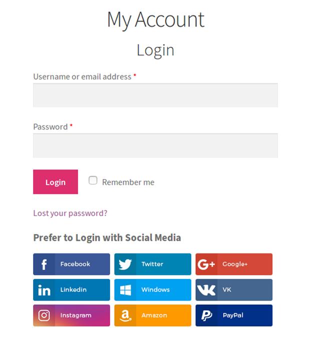 My Account Login - WooCommerce Social Login Plugin
