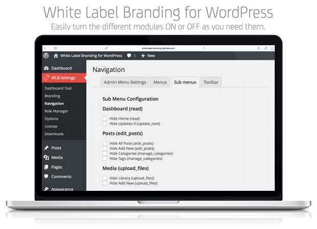 Navigation Sub Menus - White Label Branding Plugin