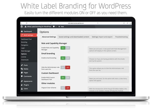 Advanced Settings - White Label Branding Plugin