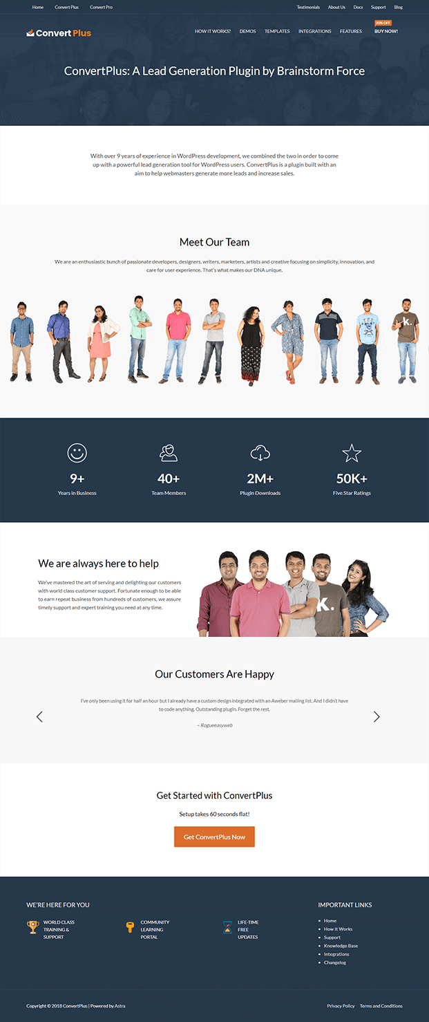 Convert Plus Popup Plugin - About Us