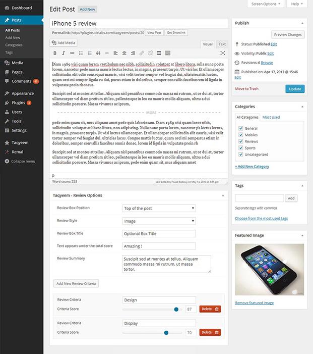 Edit Post - Taqyeem Product Review Plugin