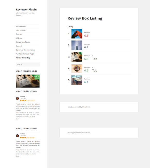 Review Box Listing - Reviewer Review & Rating Plugin