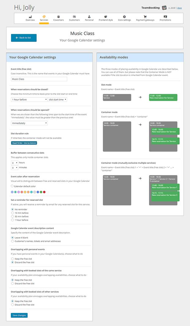 Music Class - Team Booking WordPress Plugin