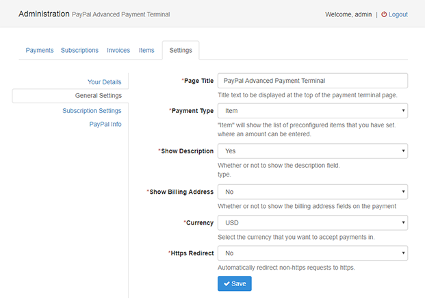 Settings- PayPal Advanced Payment Gateway- PHP Script