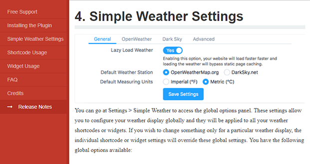 Simple Weather - Settings