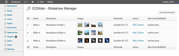 Slideshow Manager - CCSlider WP Slider Plugin
