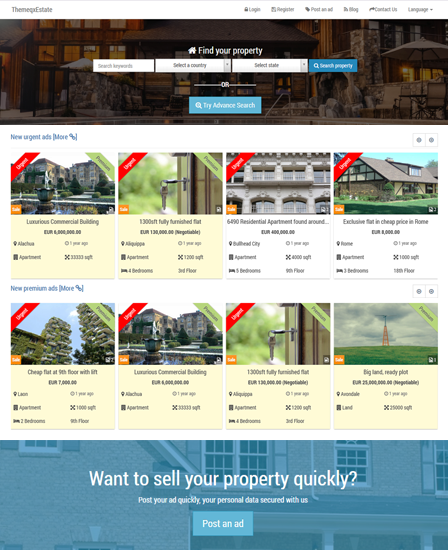 property listing php script