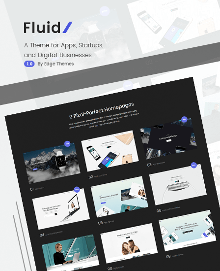 Fluid WordPress Theme For Apps