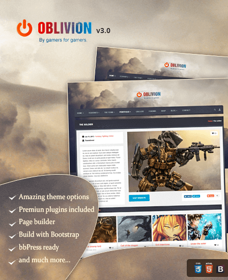 Oblivion - Ultimate WordPress Theme For Gaming