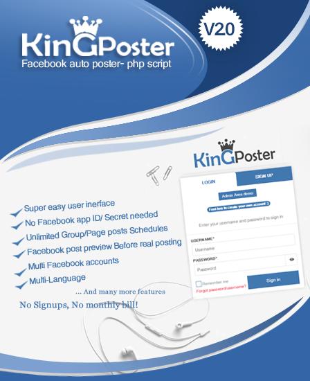 KinGPoster - Facebook Auto Post PHP Script| InkThemes