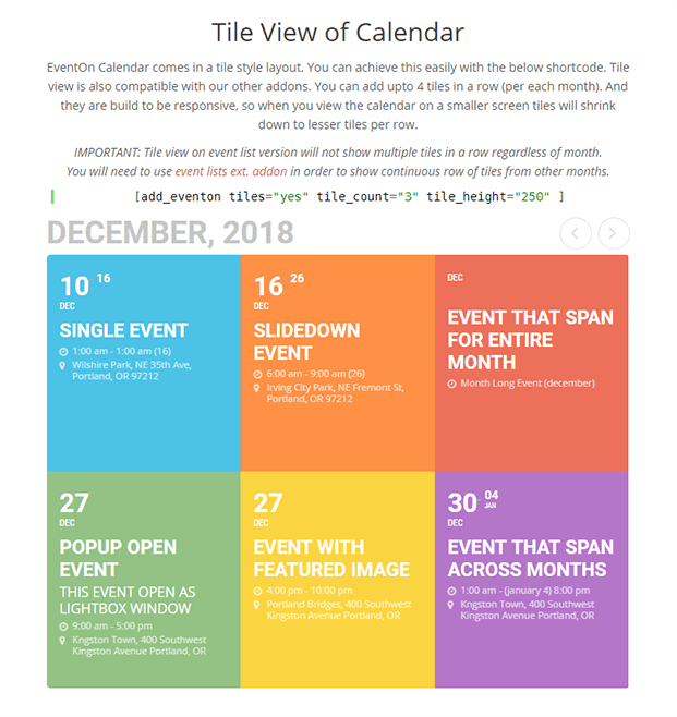 EventOn Calendar Plugin - Tile view of calendar