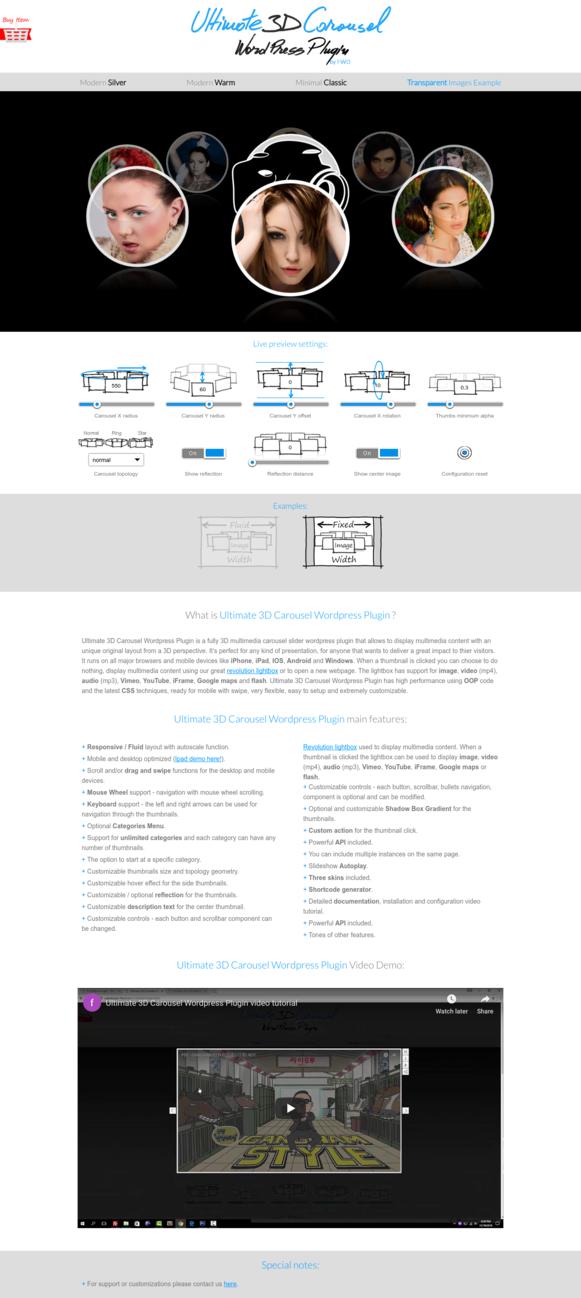 Ultimate 3D Carousel WordPress Plugin - Transparent Images Example