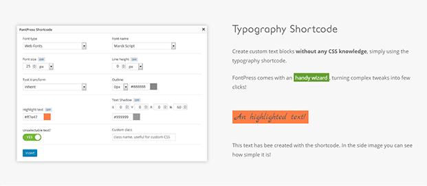 Typography shortcode