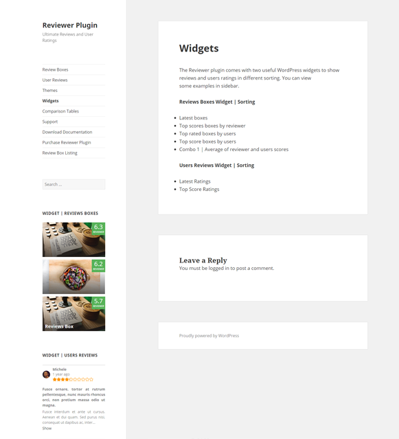 Widgets - Reviewer Review & Rating Plugin
