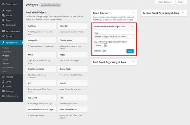 Dashboard - WooCommerce Social Login Plugin