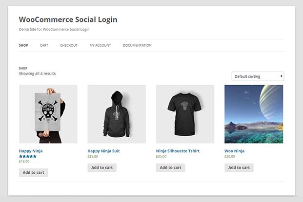Shop - WooCommerce Social Login Plugin