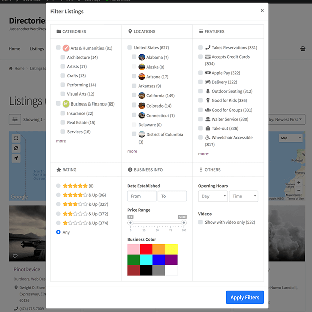 Filter listing Pro Directory Listing WordPress Plugin