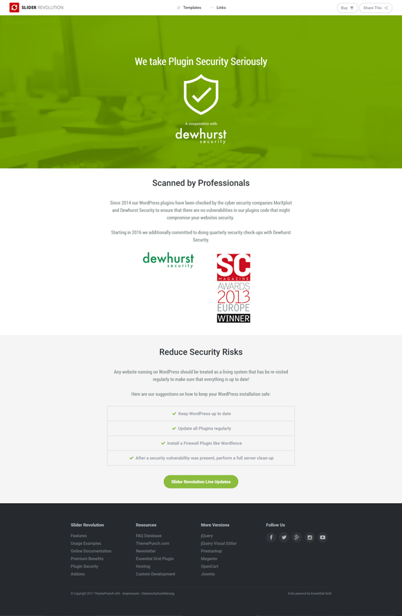 Security - Slider Revolution WordPress Plugin