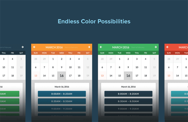 Color Possibilities - Appointment Booking WordPress Plugin