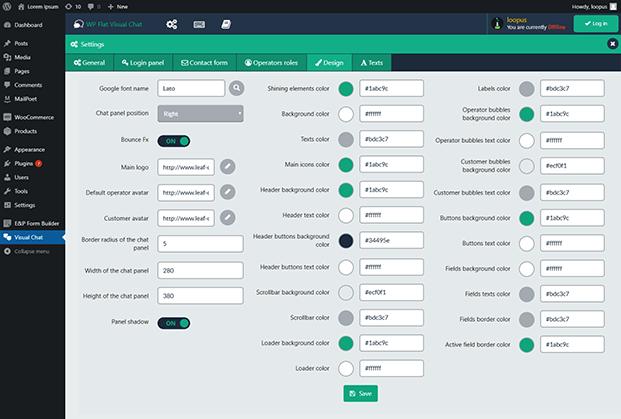 WP Flat Visual Chat Plugin - Dashboard Settings