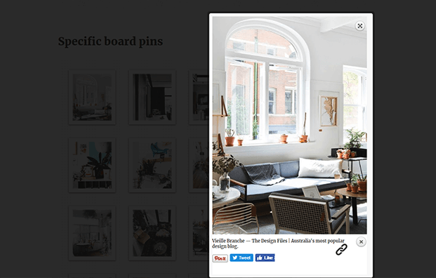 Pinterest To WordPress Plugin - Popup