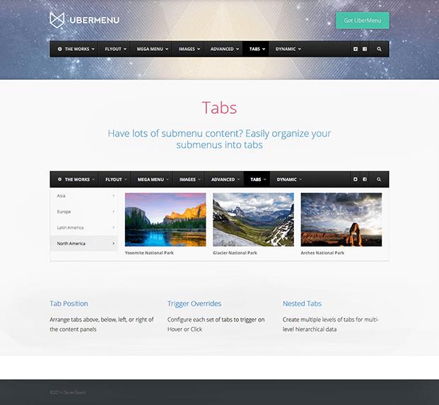 UberMenu WordPress Plugin - Tabs Option