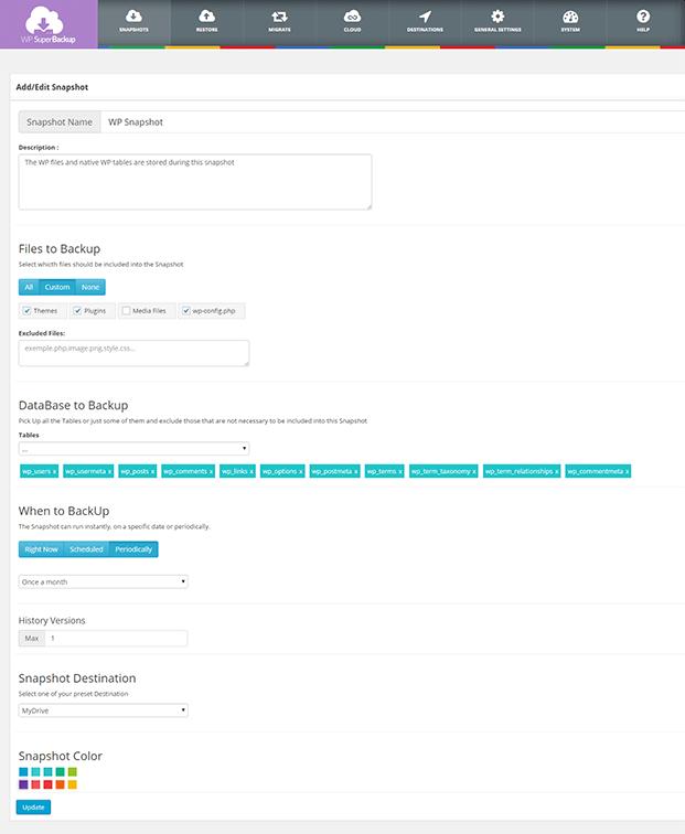 Super Backup Migration Plugin - Edit Snapshot