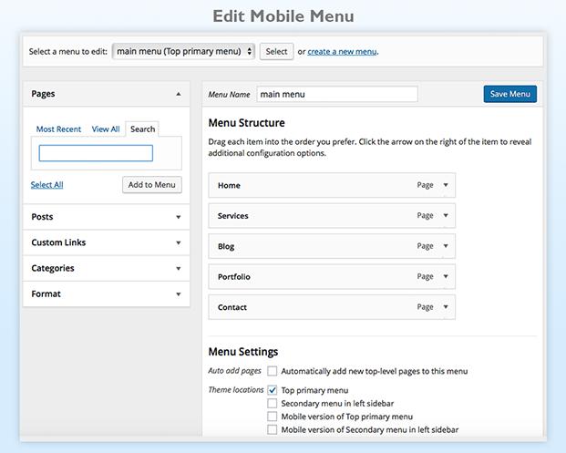 Mobile Smart Pro Plugin - Edit Mobile Menu