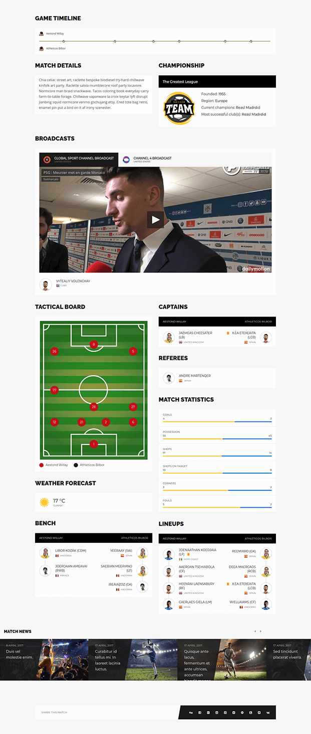 WordPress Sports Plugin - Game TimeLine