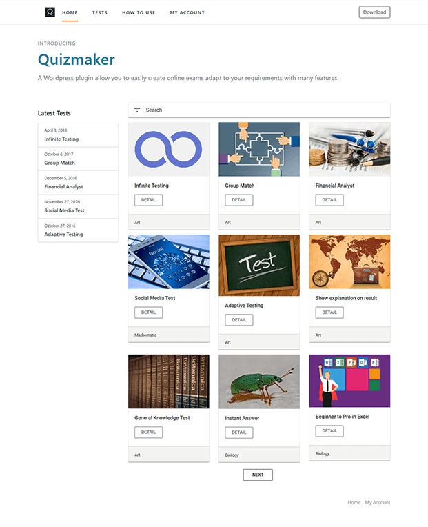 Quizmaker WordPress Plugin - Home