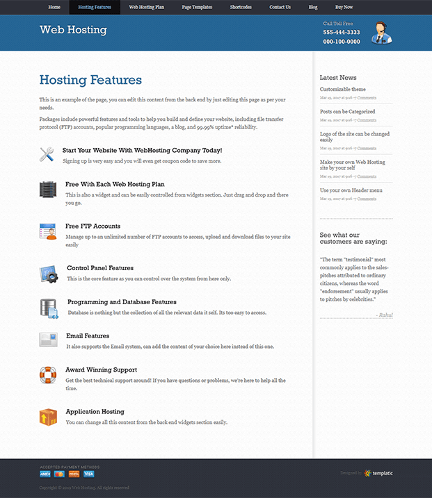 Web Hosting Features Page