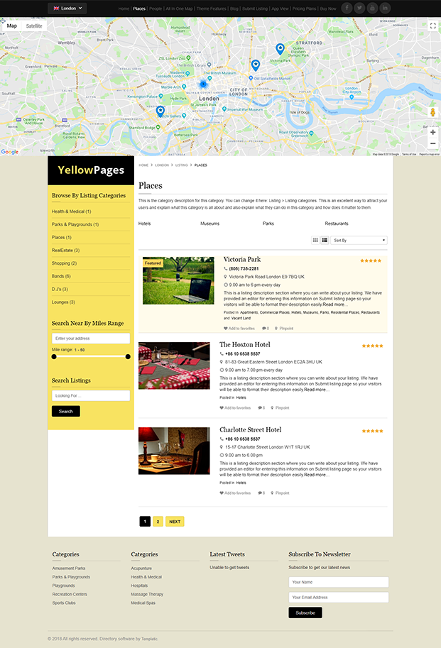 Places Category Page