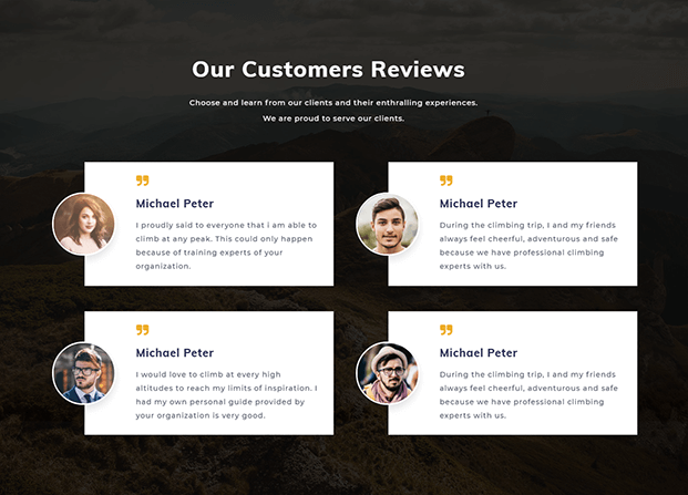 Customers Reviews Page