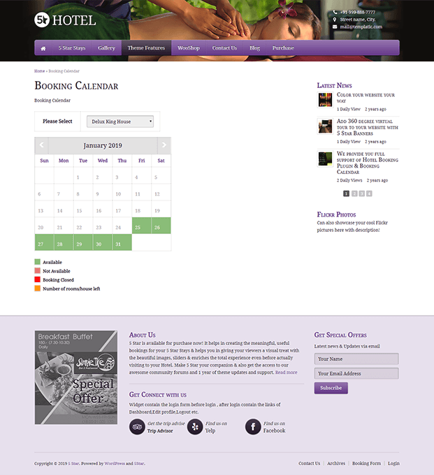 Booking Calendar Page