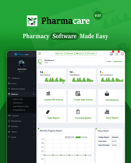 Pharmacare- Pharmacy Management System In PHP