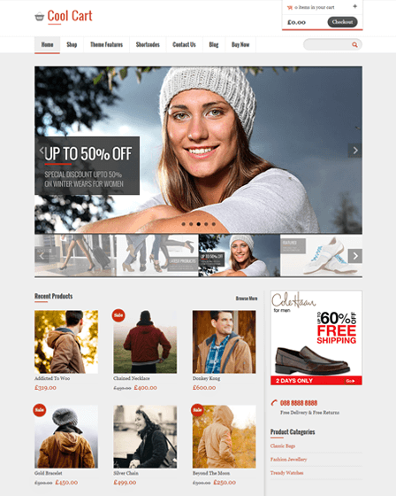 CoolCart online store WordPress theme