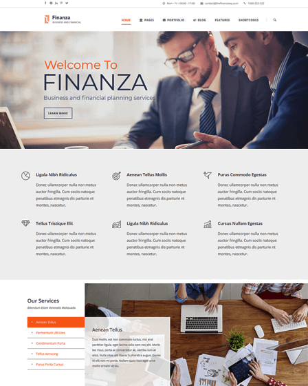Finanza WordPress financial theme
