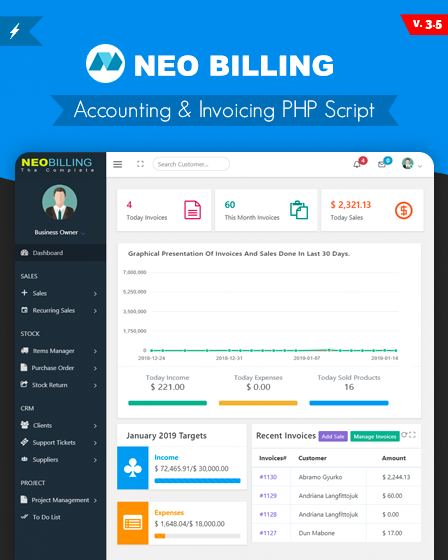 Neo Billing - Accounting & Invoicing PHP Script | InkThemes