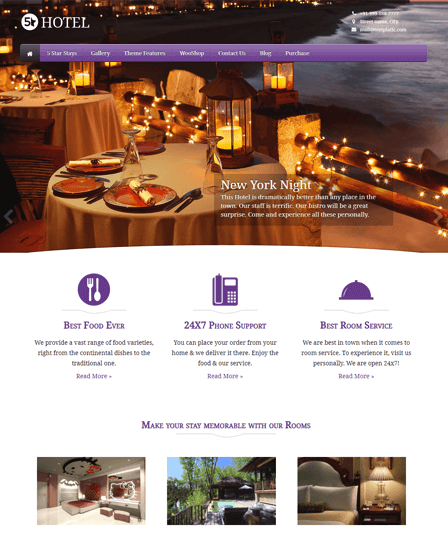 5 Star WordPress theme for hotel booking