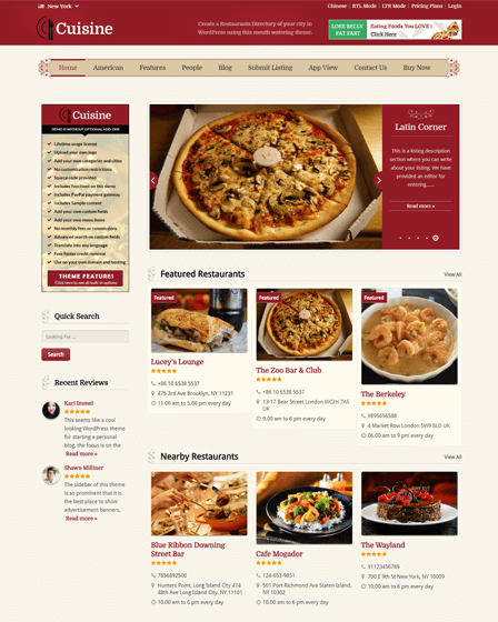 Cuisine - Restaurant Directory WordPress Theme