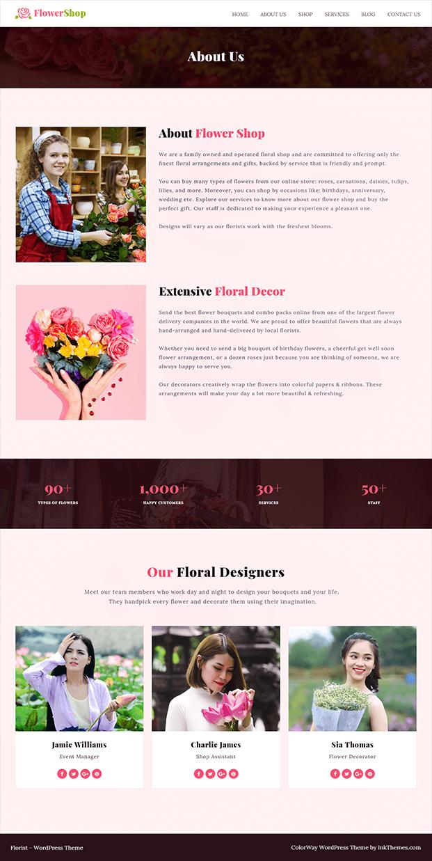 Flower Shop Florist WordPress Theme - About Us