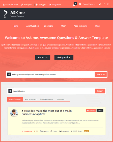 Ask Me WordPress Theme