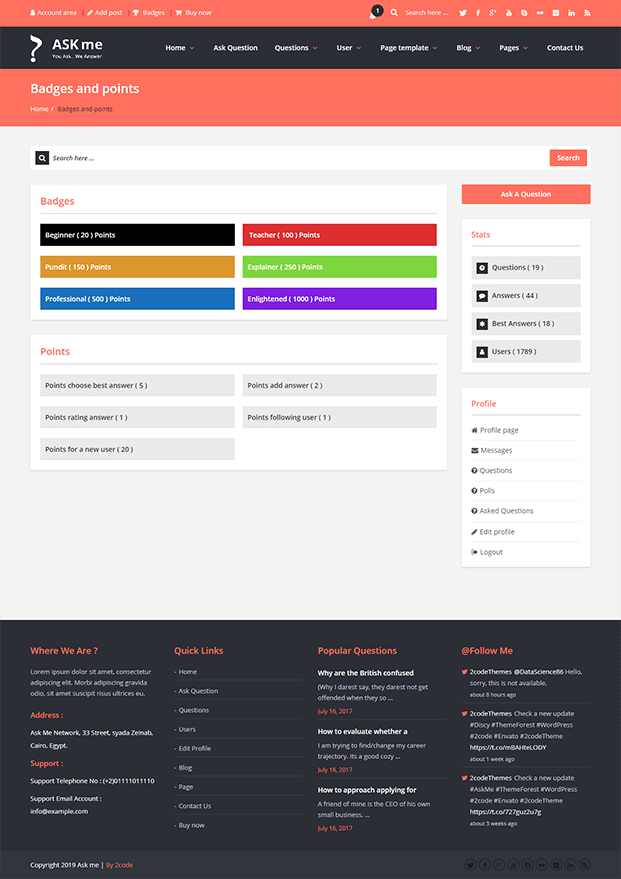Badges and Point Page